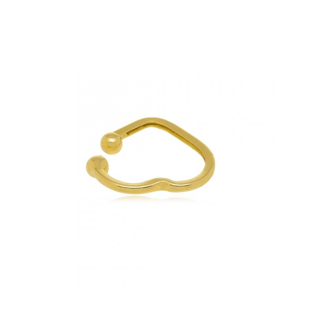 Piercing fake de pressão com formato de coração folheado a ouro 18k