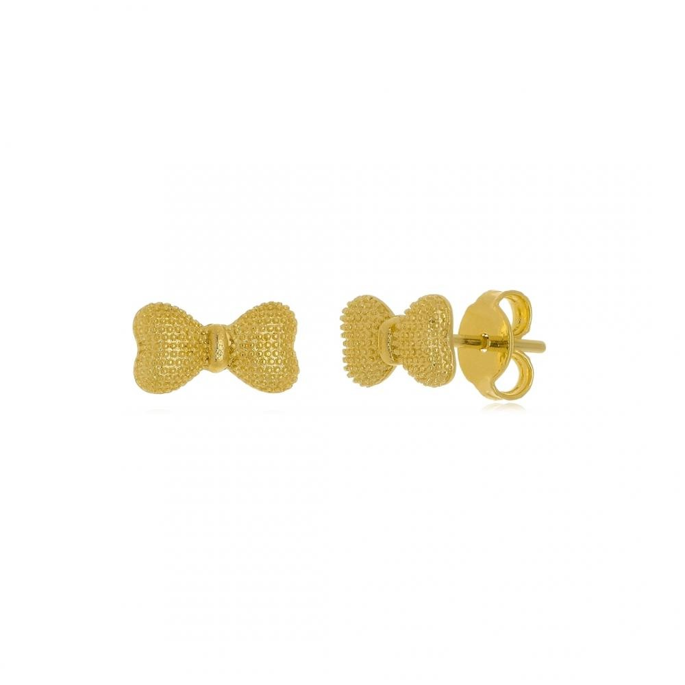 Brinco de laço folheado a ouro 18k