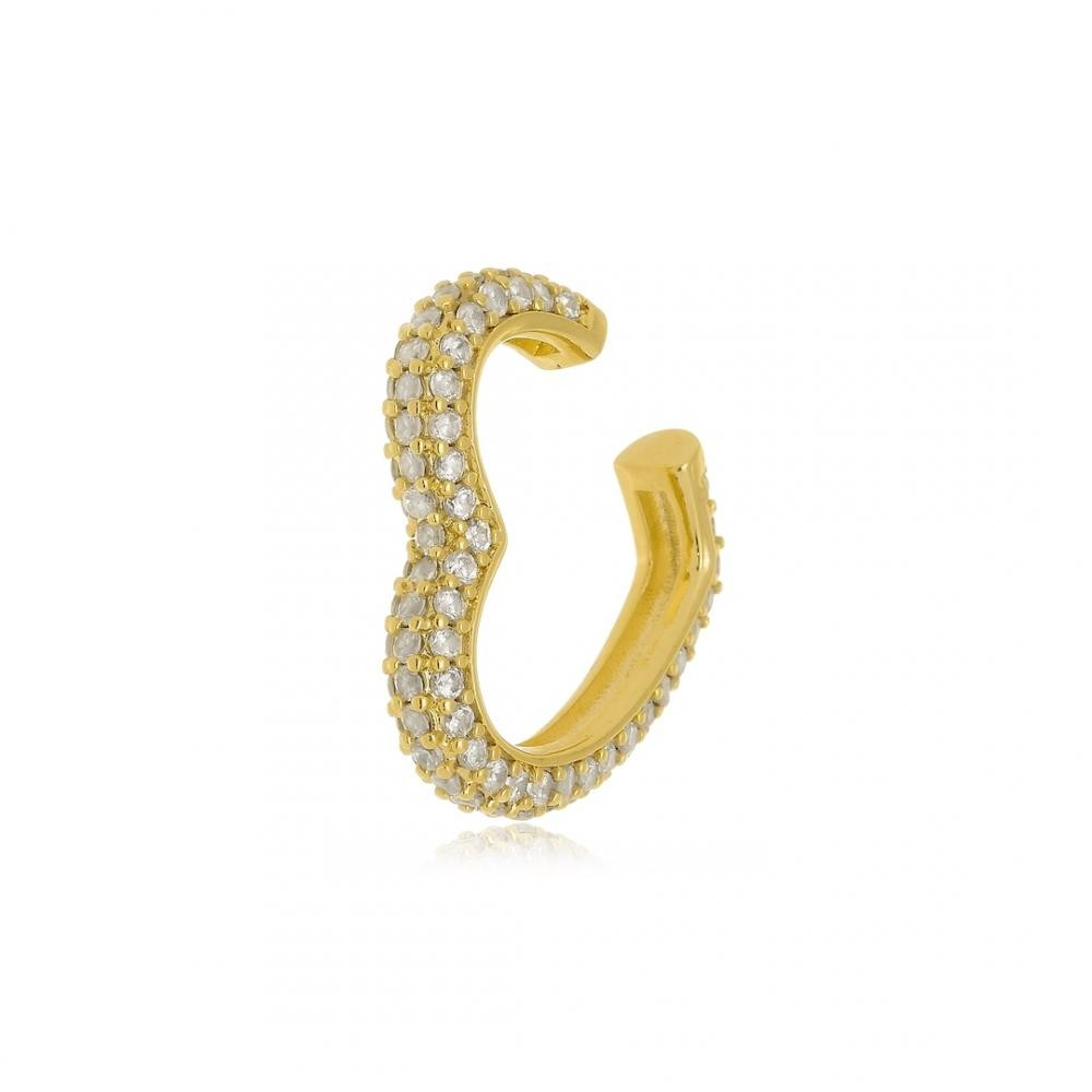 Piercing fake cravejado folheado a ouro 18k