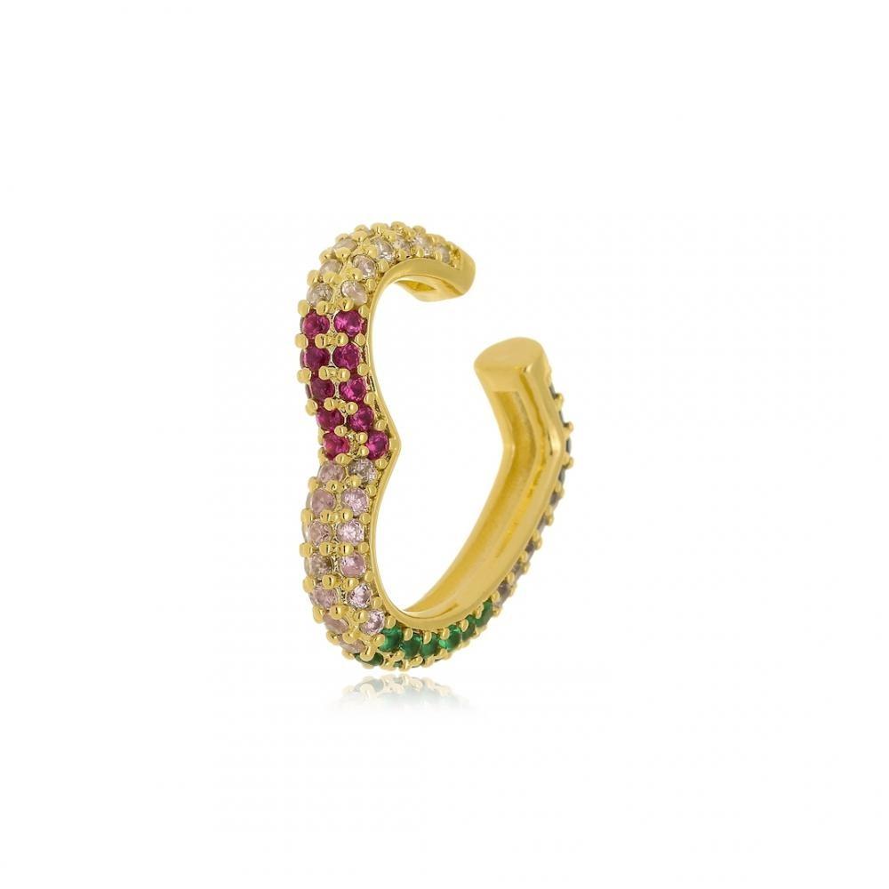 Piercing fake em formato de coração cravejado com zircônia colorida folheado a ouro 18k