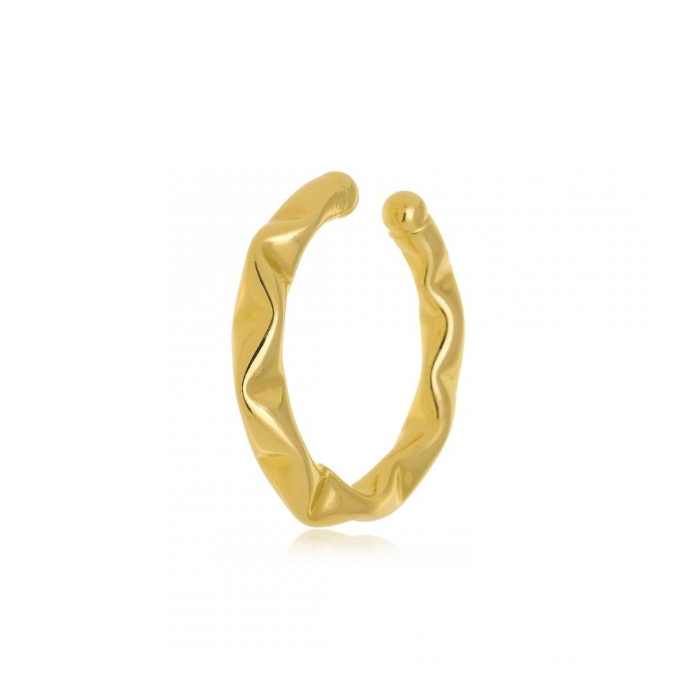Brinco piercing fake grande juliete ondulado folheado a ouro 18k