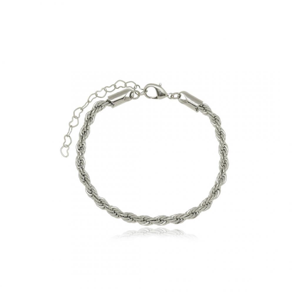 Pulseira cabo de aço na cor prata ródio branco