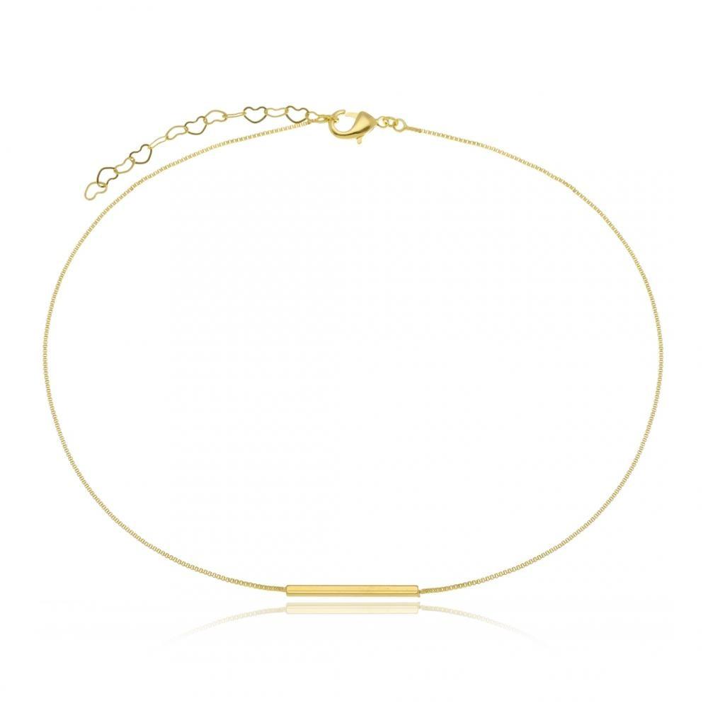 Choker minimalista com pingente de palito liso folheado a ouro 18k