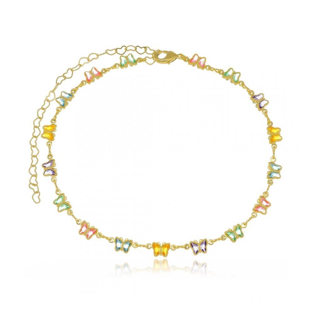 Colar infantil de borboletas coloridas folheado a ouro 18k