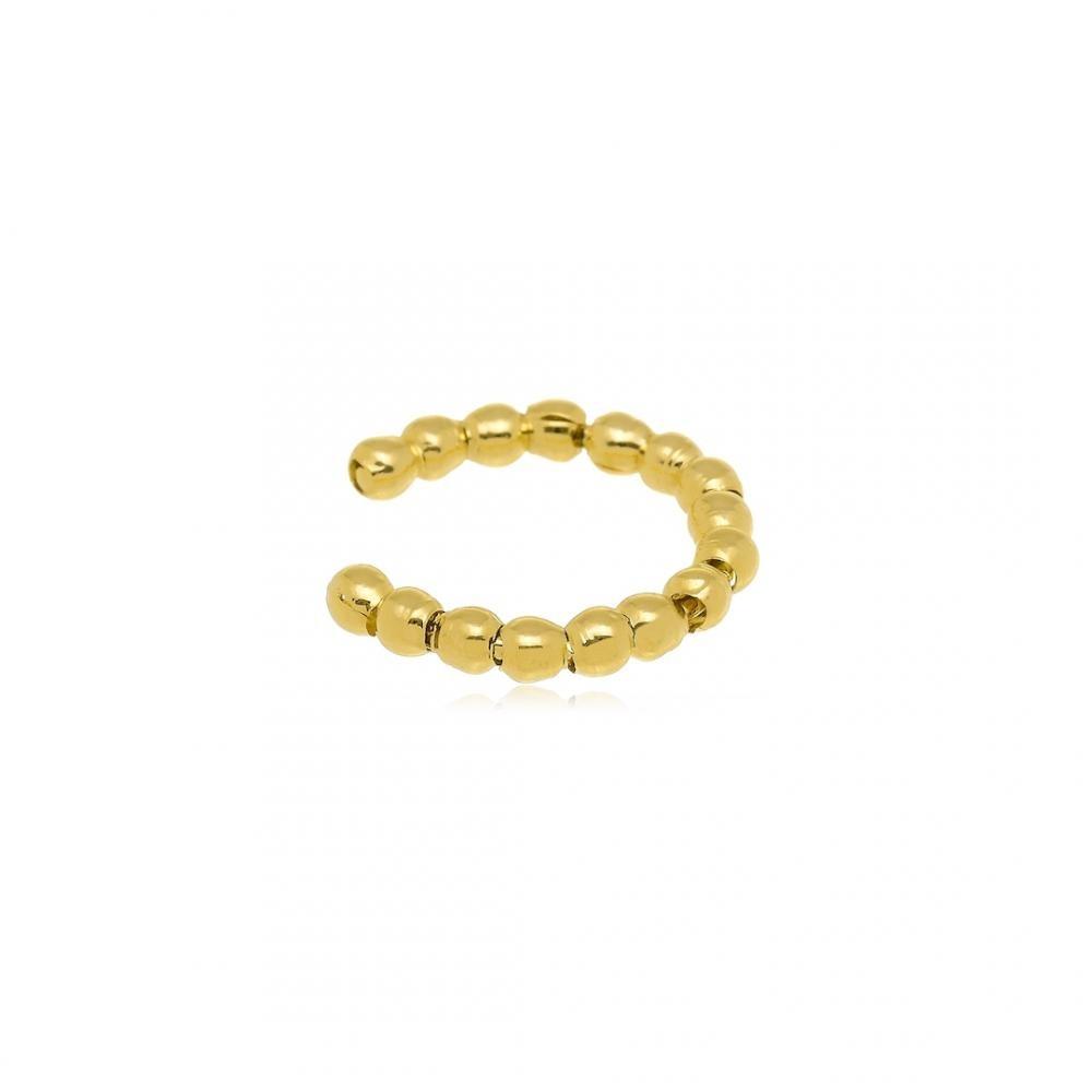 Brinco Piercing  Fake de pressão com mini bolinhas folheado a ouro 18k