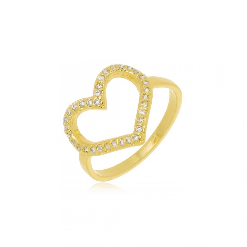 Anel de coração com zircônia folheado a ouro 18k