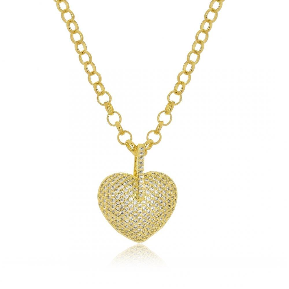 Colar com corrente de elo português e pingente  de coração cravejado com zircônia folheado a ouro 18k