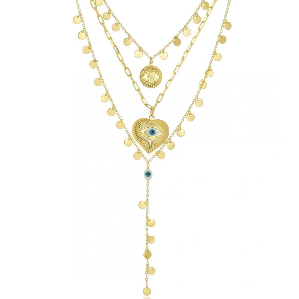 Mix de colar com pingentes de medalha é olho grego folheado a ouro 18k