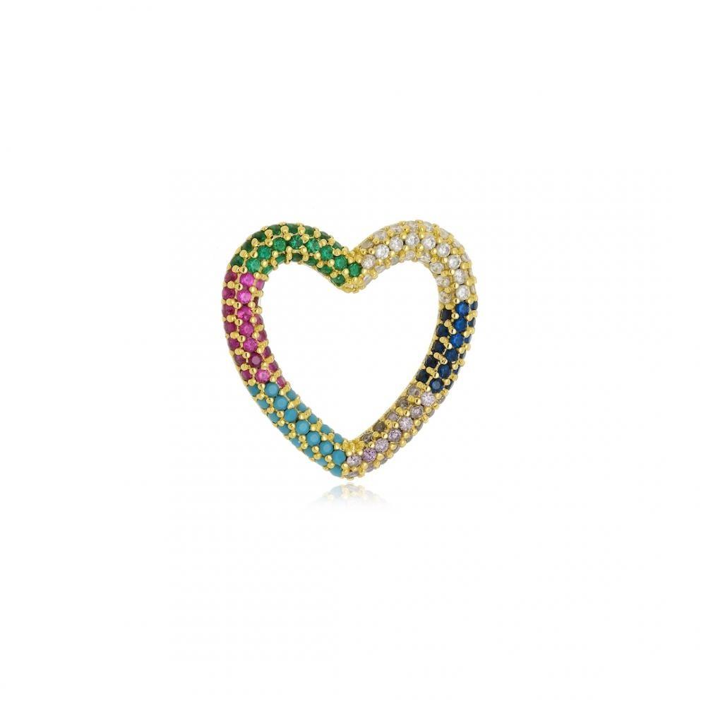 Pingente de coração cravejado com zircônia colorida folheado a ouro 18k