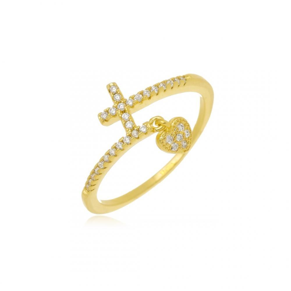 Anel cruz e pingente de coração cravejado com zircônia folheado a ouro 18k