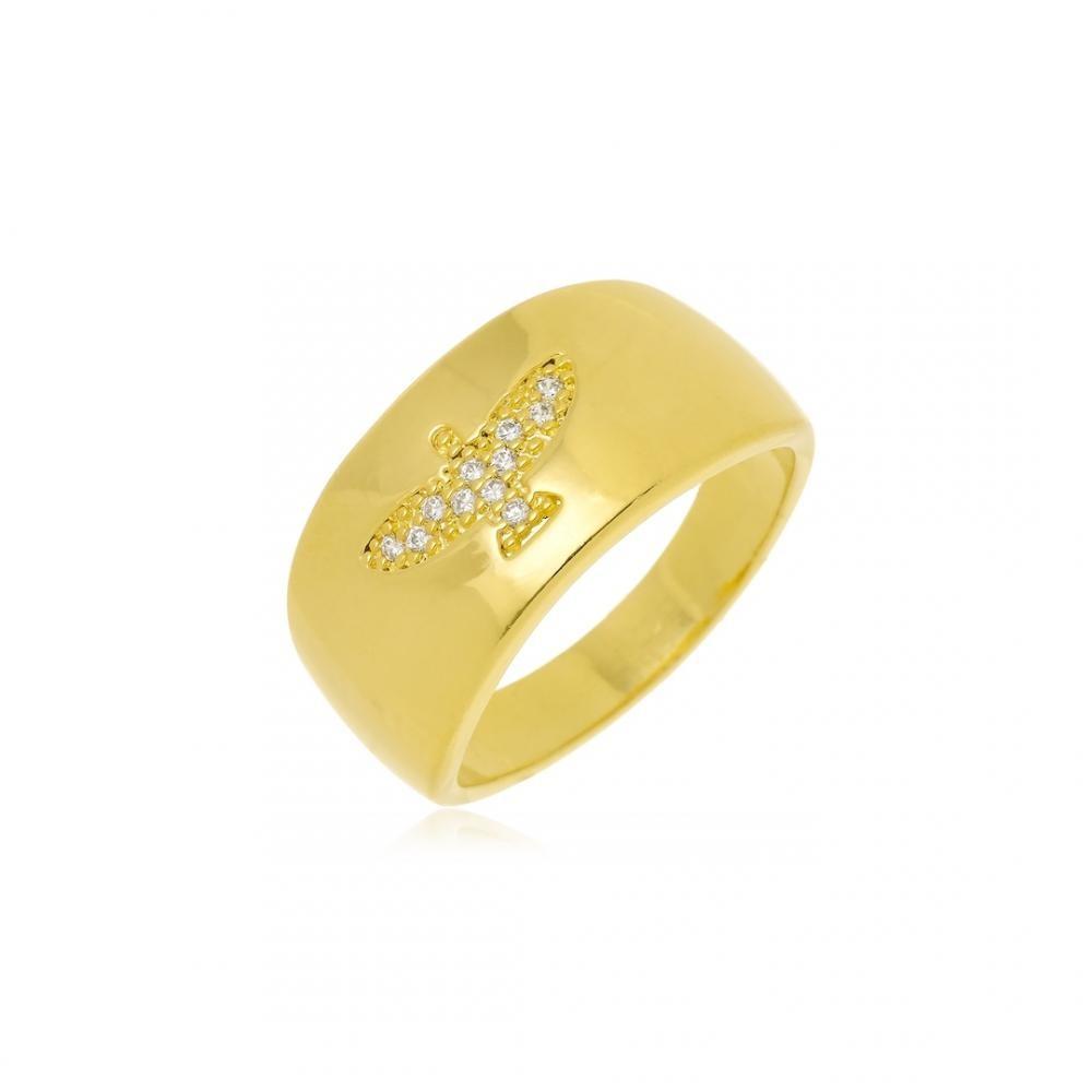 Anel Espirito Santo cravejado com zircônia folheado a ouro 18k