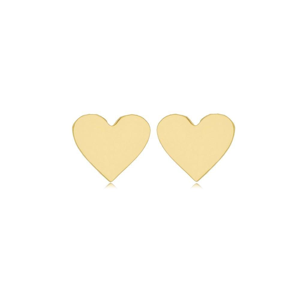 Brinco de coração liso pequeno folheado a ouro 18k