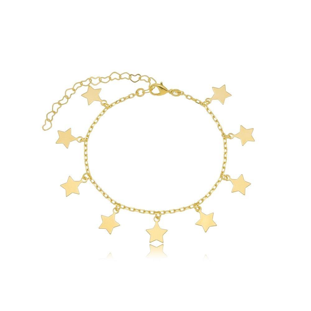 Tornozeleira com pingentes de estrelas lisos folheada a ouro 18k