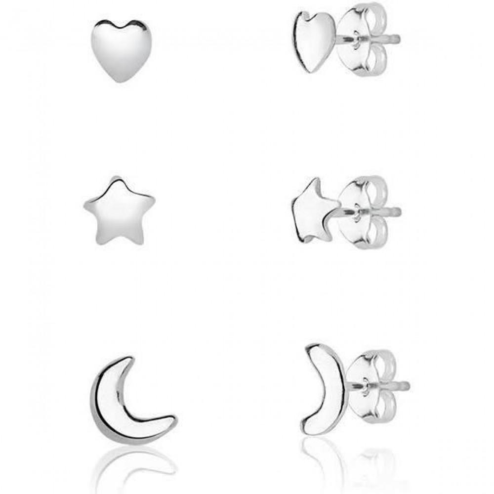 Trio de brinco de prata 925