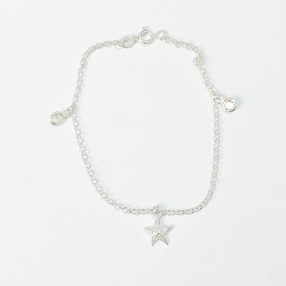Pulseira com zircônia cristal e pingente de estrela do mar de prata 925