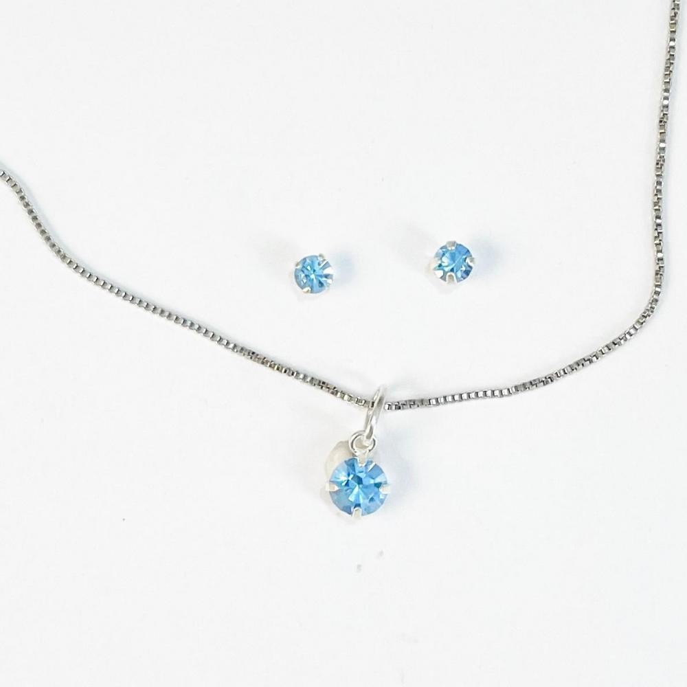Conjunto de ponto de luz azul de prata 925
