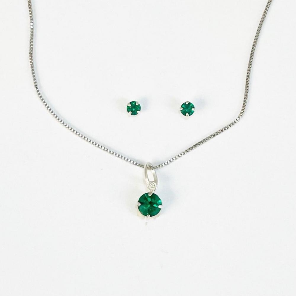 Conjunto de ponto de luz verde de prata 925