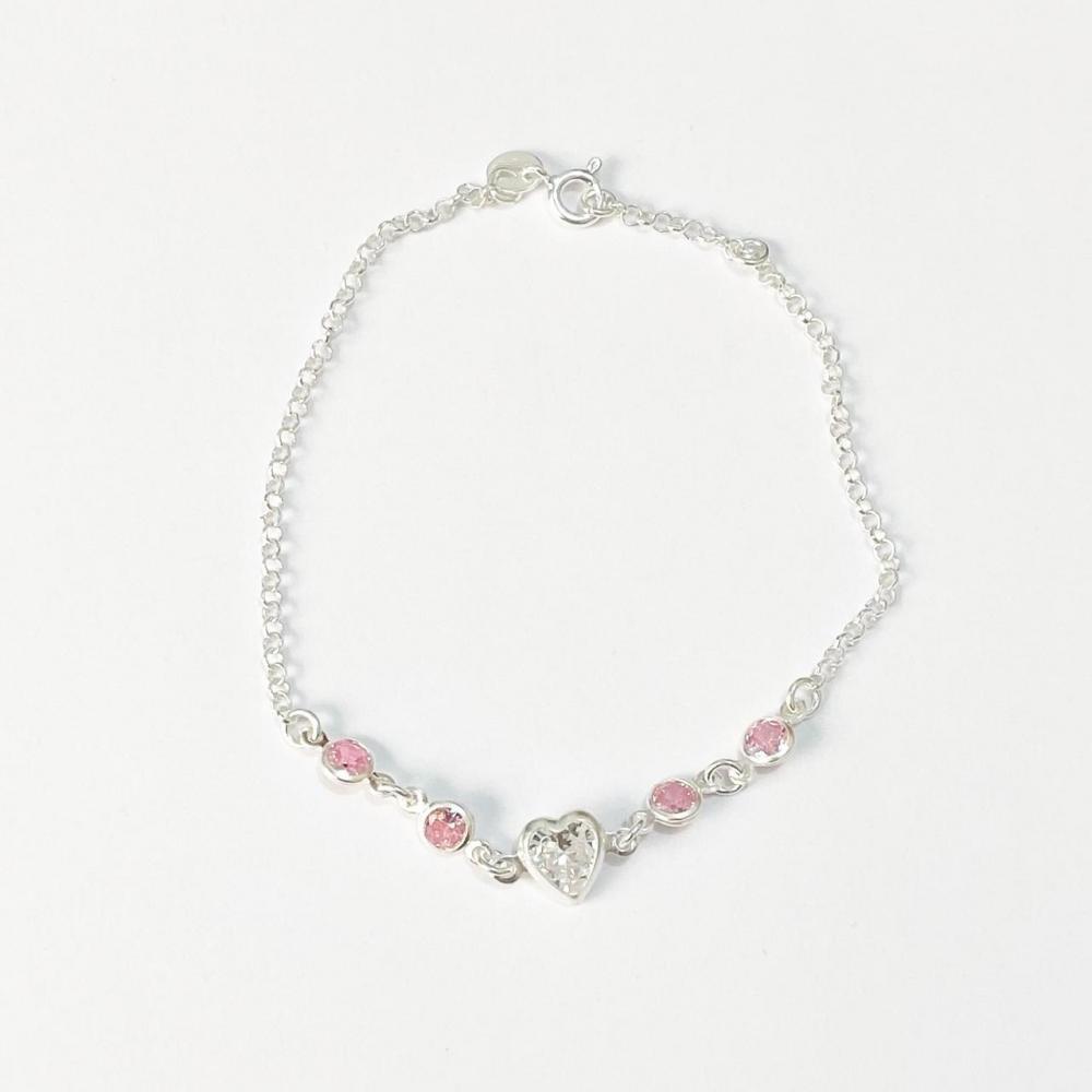 Pulseira com zircônia rosa e pingente de coração de prata 925