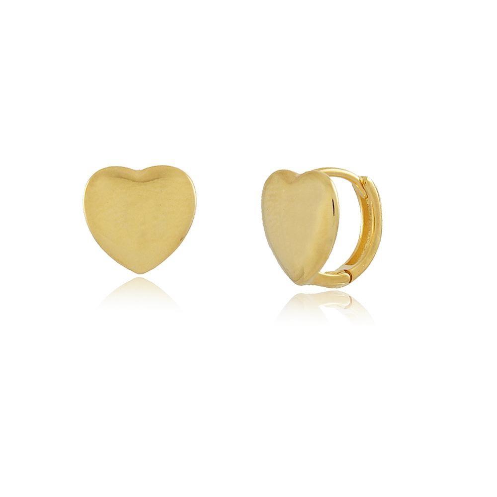 Brinco de argola média com coração liso folheada a ouro 18k