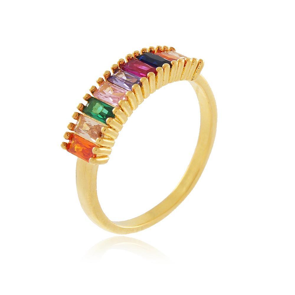 Anel cravejado com zircônia colorida folheado a ouro 18k
