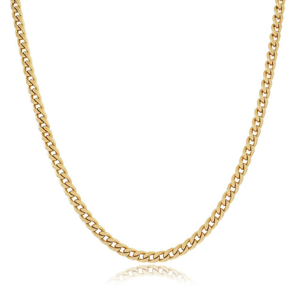Colar com corrente de elos diamantados folheado a ouro 18k