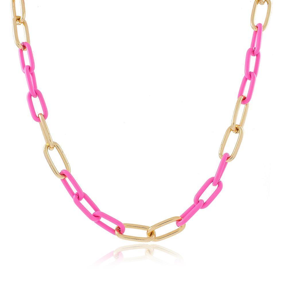 Colar com corrente de elos rosa folheado a ouro 18k