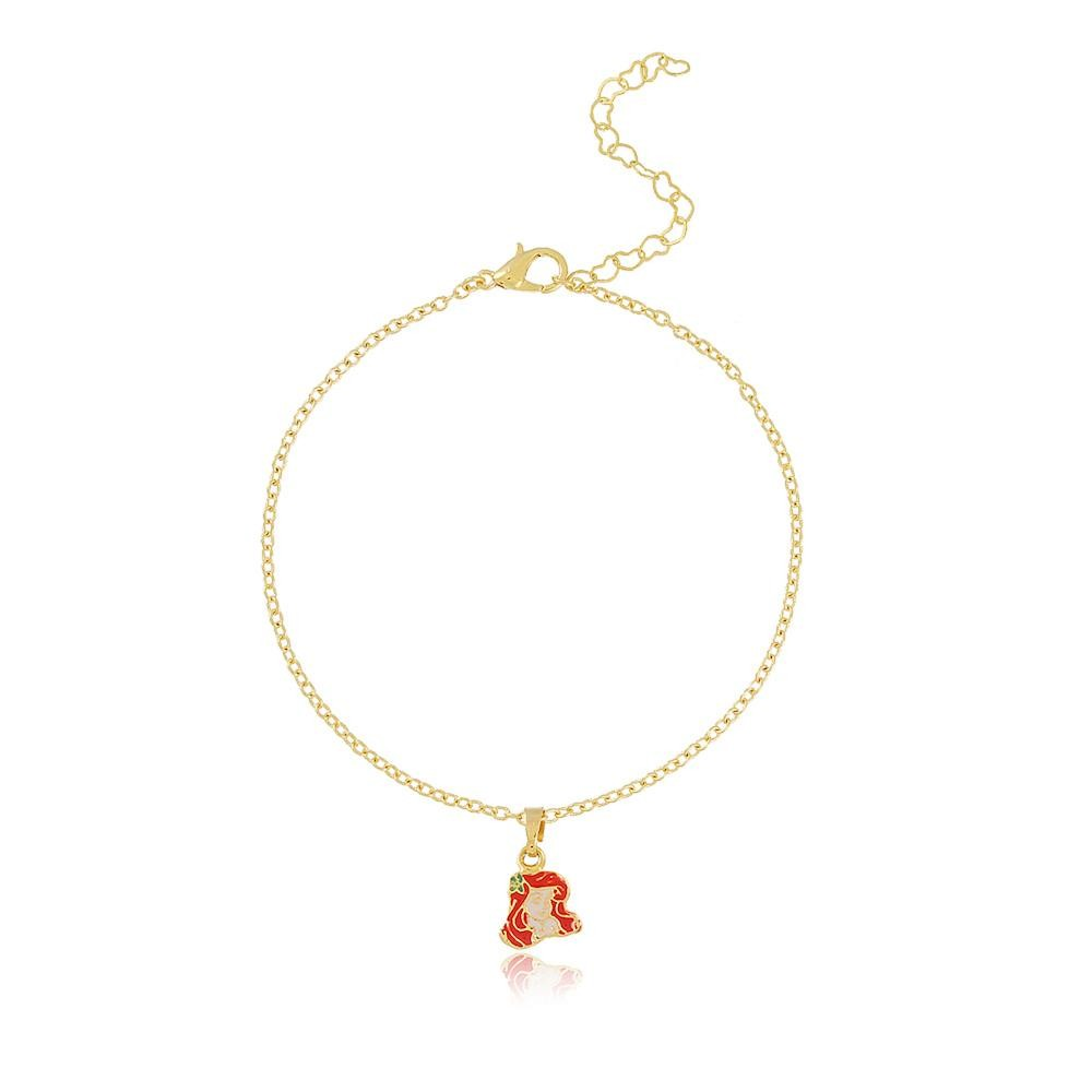 pulseira infantil com pingente de princesa folheado a ouro 18k