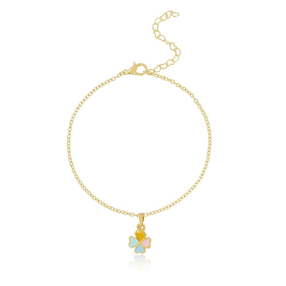 pulseira infantil com pingente de trevo de quatro folhas folheado a ouro 18k