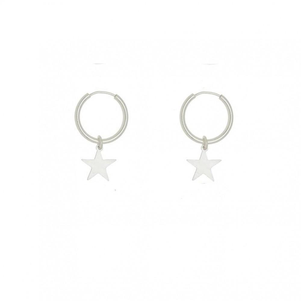Argola com pingente de estrela de prata 925