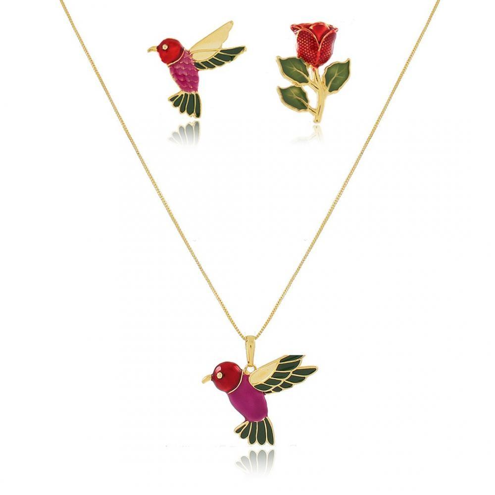 Conjunto resinado de beija-flor folheado a ouro 18k